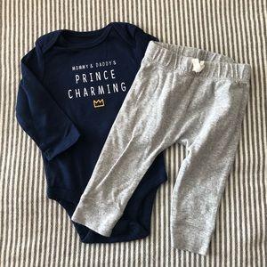 Baby Boy Prince Charming Onesie & Pant  Set